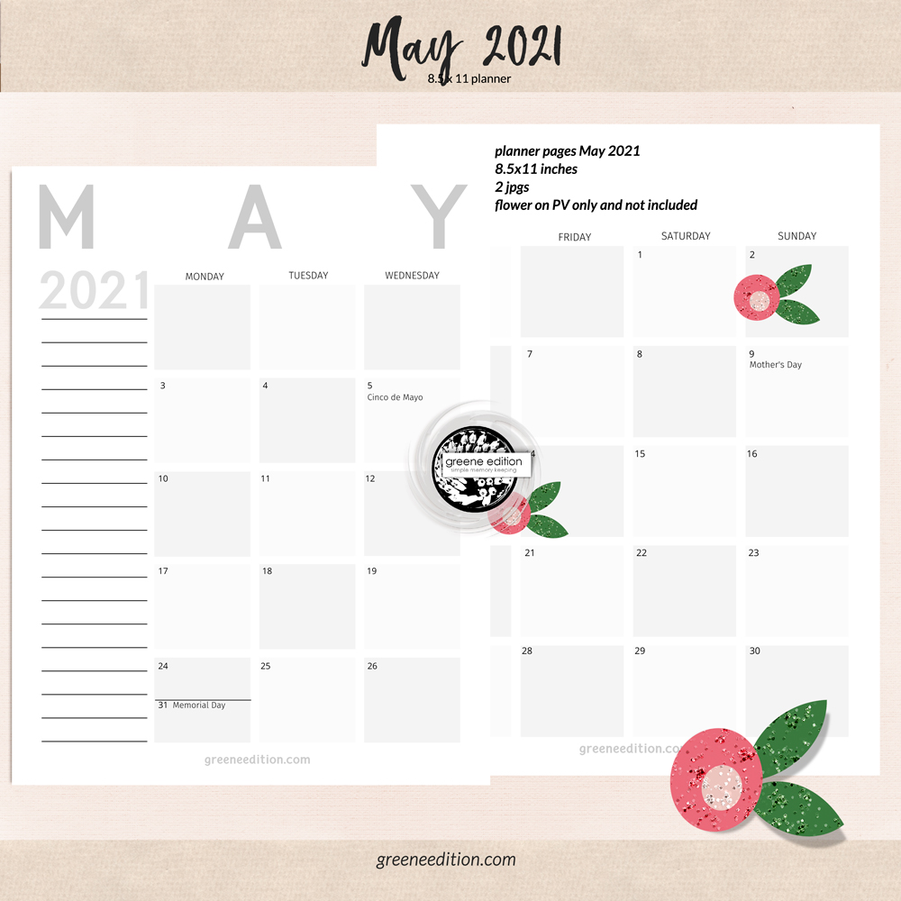 greene edition. calendar May 2021