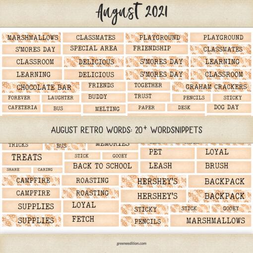 Retro August Words, greene edition