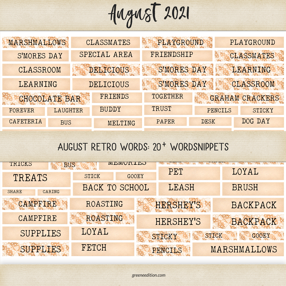 Retro August Words