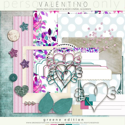 greene edition , digital page layout kit, scrapbooking min kit, copyright 2019 greene edition