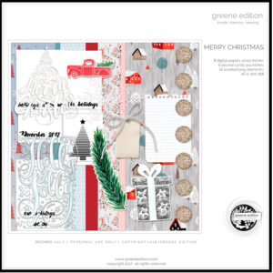 greeneEdition, freebie, digital scrapbookig kit, Merry hristmas, December 2017