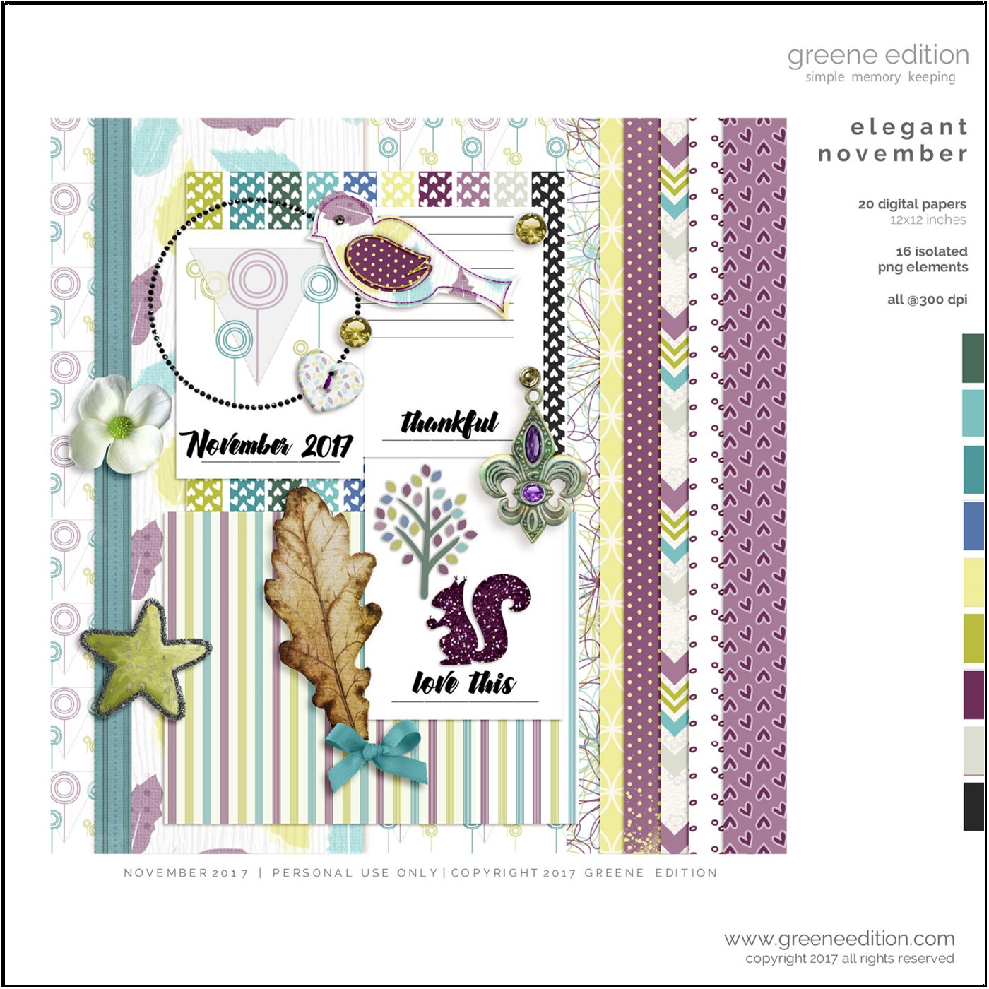 greene edition, digital scrapbooking freebie kit, november 2017