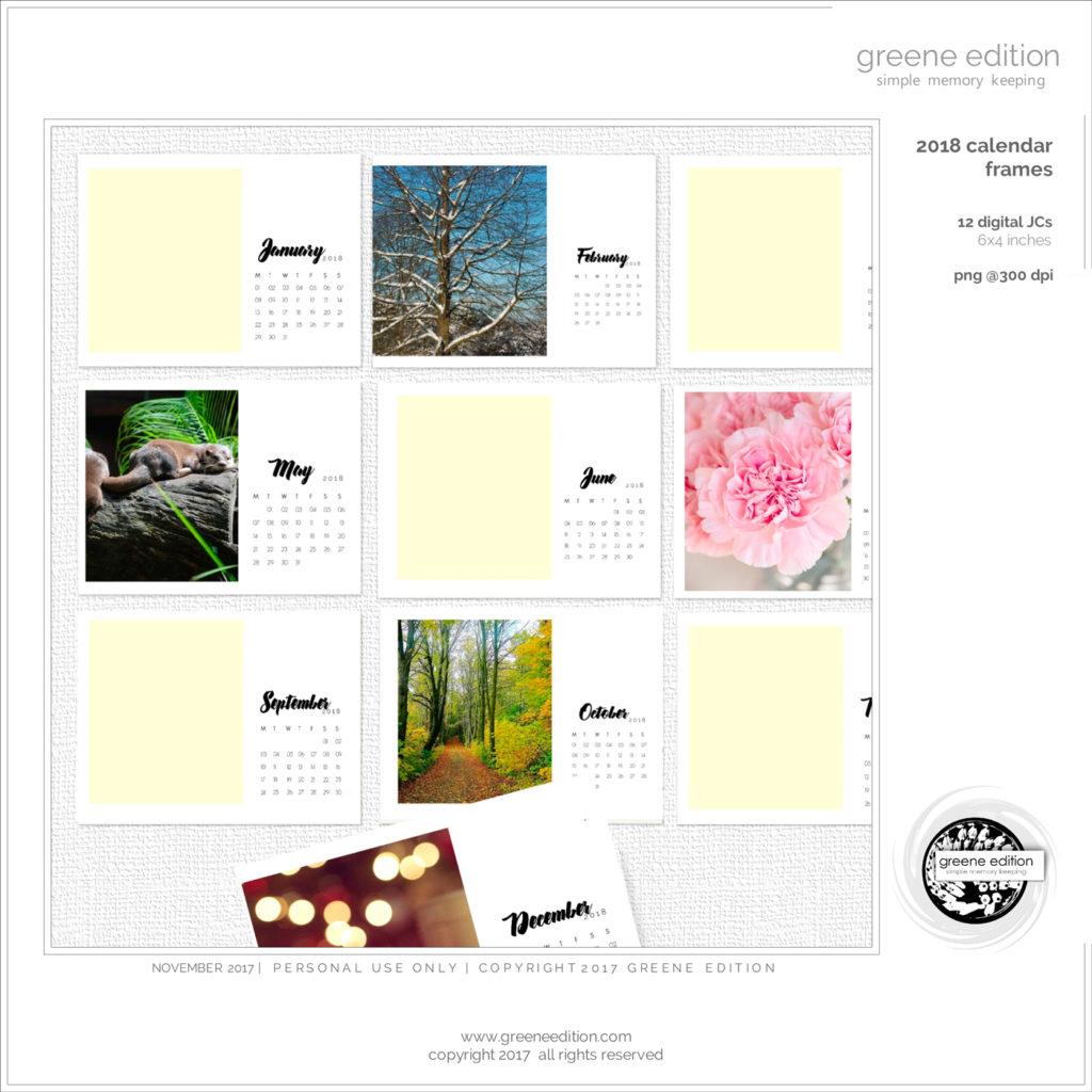 2018 calendar frames freebie copyright 2017 greene edition