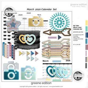 March 2020 Calendar Kit, My Tribe Mini Kit, greene edition, copyright 2020 greeneedition.com