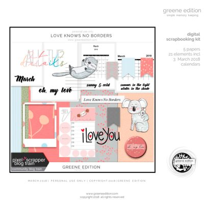 free digital scrapbooking kit - Love Knows No Borders - greene edition -