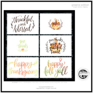 greene edition Thankful journal cards freebie - Greene Edition