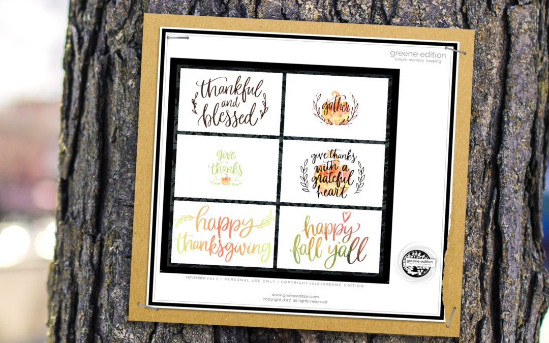 greene edition Thankful journal cards freebie