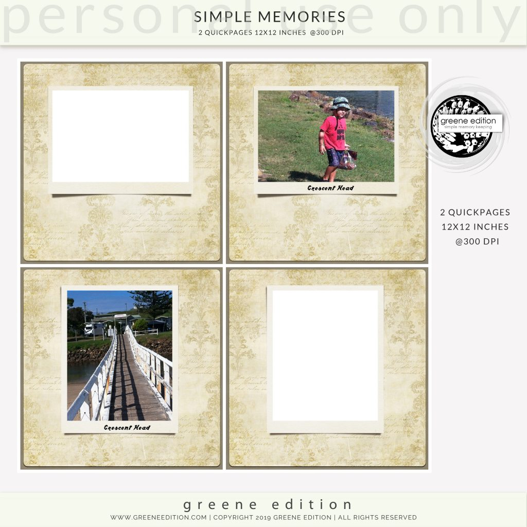 copyright greene edition, simple memories quickages 12x12